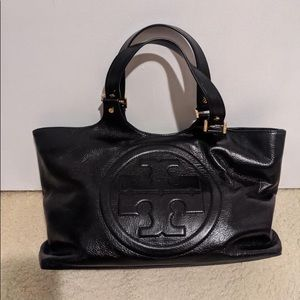 Tory Burch Bombe Glazed Leather Tote